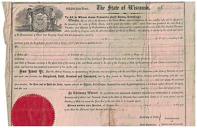 1871 State of Wisconsin Land Grant Document 40 acres Manitowac County