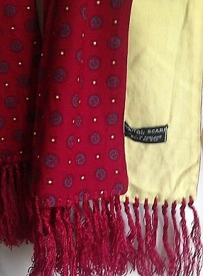 Mens scarf vintage 1960s Tootal dark red patterned scarf with yellow reverse MOD
