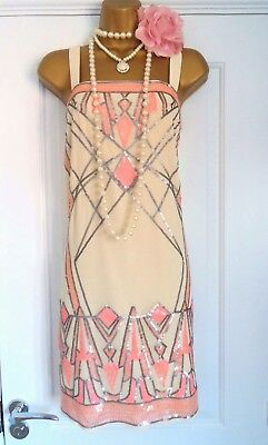 Warehouse 1920s Style Gatsby Flapper Charleston Beaded Sequin Dress Size 10