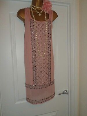 NEXT 1920s Style Gatsby Flapper Charleston Beaded Sequin Dress Size 18