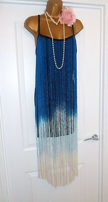 Vintage 1920s Style Gatsby Flapper Fringe Tassel Dress Size 8/10 Small