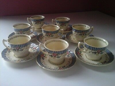 Antique - Royal Doulton - The Vernon - 8 Demitasse Cups and Saucers
