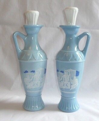 2 Vintage Blue Decanter Bottles Cork Stoppers Plato Aristotle Socrates Jim Beam