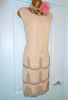 Vintage 1920s Style Gatsby Flapper Charleston Sequin Beaded Dress Size 22