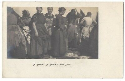 PORT SETON Fish Wives, A Shullin! A Shullin, Old Postcard by Ness Posted 1905
