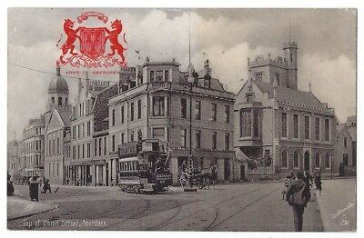 ABERDEEN Top of Union St Showing Tram, Silverette Postcard by Tuck Posted 1906