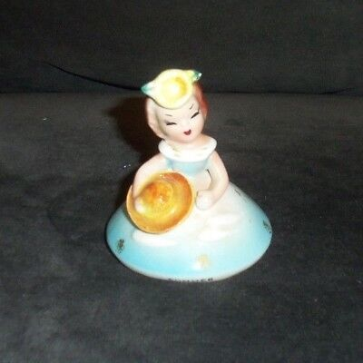 """Vintage Norcrest Bell Girl With Blue Dress & Hat """" Summer """" Made In Japan CUTE"""