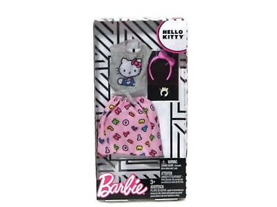 Barbie Hello Kitty Fashion Pack Gray Top Pink Skirt Accessories FKR68