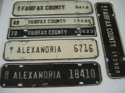 Six Virginia City/County License Strips! FREE SHIPPING!!