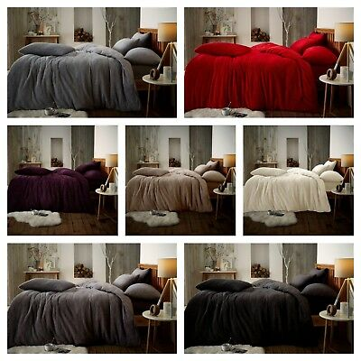 Teddy Fleece Luxury Duvet Covers Fluffy Warm Soft Bedding Sets / Fitted Sheets