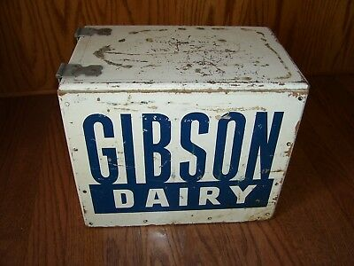 Vtg Gibson Dairy wood milk covered hinged box advertising crate Longview Texas