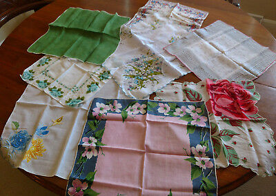 Vintage Floral Ladies Handkerchiefs, Lot of 8