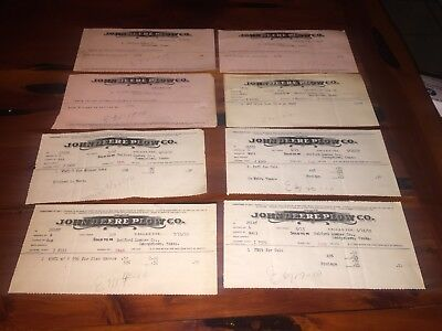 EIGHT Vintage John Deere Plow Co. Letter Heads**1910**