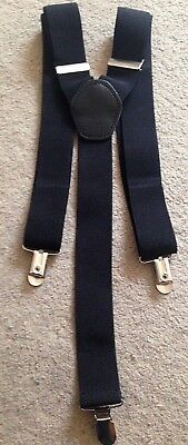 Mens braces vintage 1980s Y-back black with leather clip-on fastenings - smart