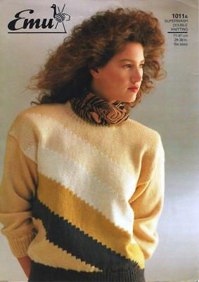 "EM1011 LADIES DK GEOMETRIC SWEATER KNITTING PATTERN 28-38""/71-97cm"