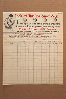 Vintage Dupont Trap Score Sheet with 1916 letter to the H. W. Johns-Manville Co.