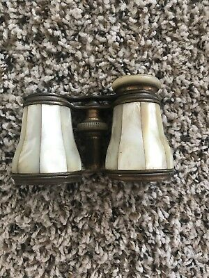 Antique Brass & Mother of Pearl Opera Glasses Binoculars Lemaire Paris