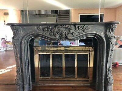 Louis XV style antique marble fireplace gray