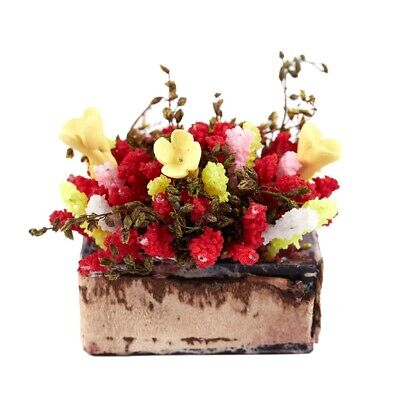 1/12 Dollhouse Miniature Multicolor Flower Bush With Wood Pot O6F7
