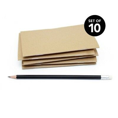 Kraft Bulk Notebooks, 10 Pack, 3.5 x 5.5 Inch, Kraft Cover, Blank Pages.