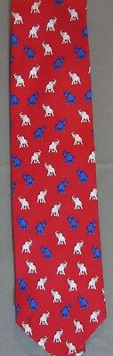 "57"" Red, White, & Blue Republican 100% Silk Mark, Fore & Strike Elephant Tie"