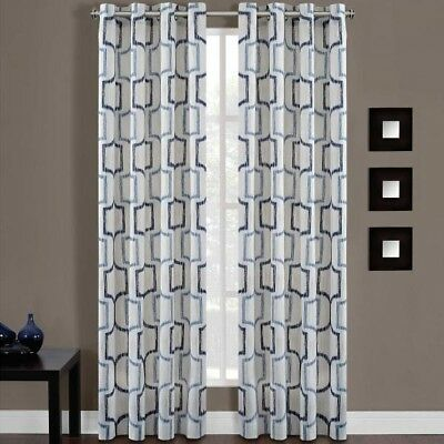 "Portinari 50""W x 84""L, 1 Grommet Top Window Curtain Panel in Indigo"