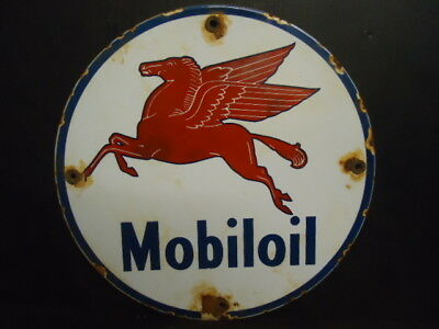 Old 1941 Mobiloil Porcelain Enamel Gas Pump Oil Service Station Sign