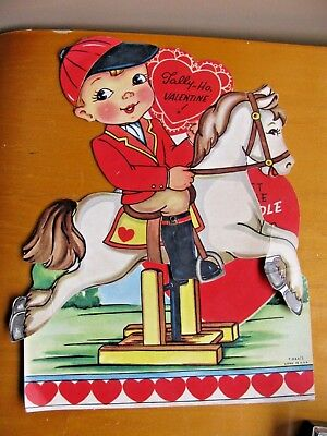 Tally-Ho Valentine Horse Rider LARGE ARTICULATED Unused Vintage Valentine Card