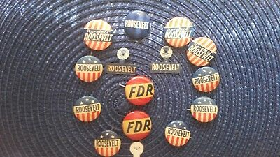 FDR campaign pins and 1932  speech brochures on agriculture and power.