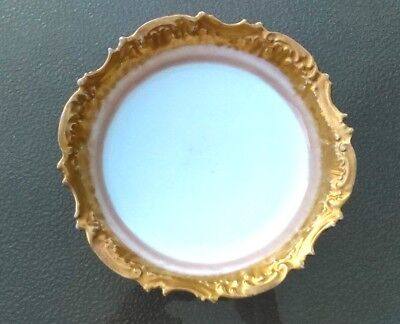 Antique Limoges Scalloped  White and Gilt Louis the 14 Sun King Halo Bowl Rare