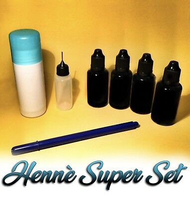 HENNE' PRONTO SUPERSET TATTOO 4 FLACONI kit tatuaggi temporanei henne hennè nero