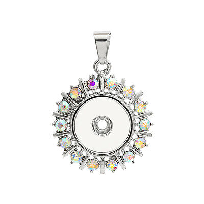 18mm Charm Crystal Alloy Pendant for Fit Noosa Necklace Snap Chunk Button A319
