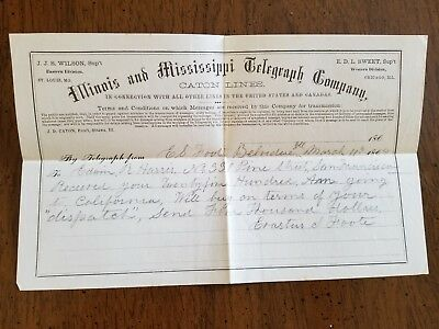 Civil War/ March 11,1864 Illinois and Mississippi Telegraph company caton lines