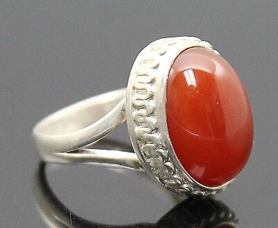 Gorgeous Vintage Oval Shaped Carnelian High Setting Sterling Silver Ring Sz 7.75