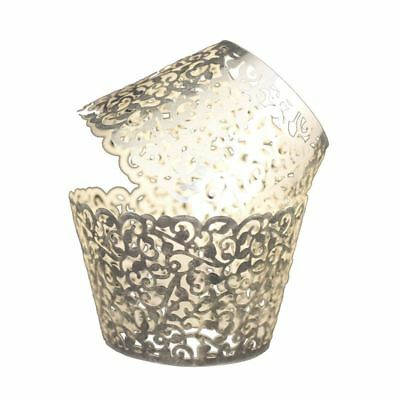 Vine Cupcake Holders Filigree Vine Designed Paper- 50pcs (Bright Silver ) X4N4