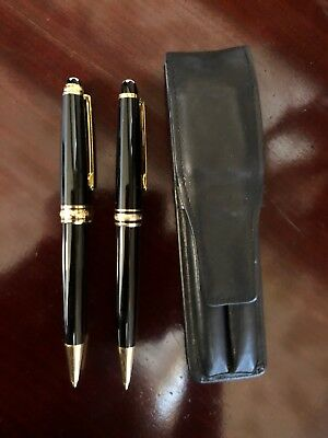 MONTBLANC MEISTERSTUCK BALLPOINT PEN & MECHANICAL PENCIL SET  With Leather Case