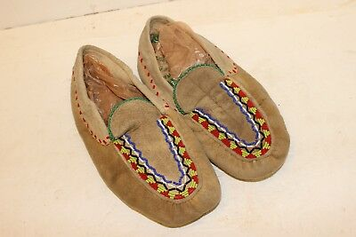 Great Lakes Area Indian Moccasins W/ Beads