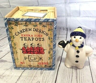 "Paul Cardew Signed ""Snowman"" Novelty One Cup Vintage Collectible Teapot"