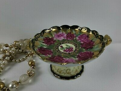 Handpainted Candy Dish with Rose Pattern by Nippon