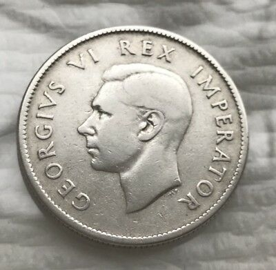 1937 South Africa 2 Shilling Silver Foreign Coin