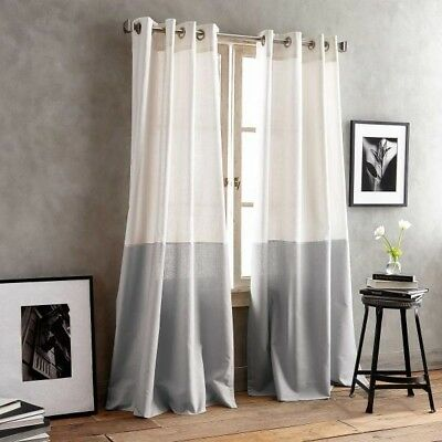 "DKNY Color Band 50""W x 95""L, 1 Grommet Top Window Curtain Panel in Grey"