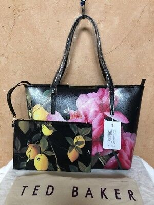 10eda07ea40c21 Nwt  268 Ted Baker Joanie Citrus Bloom Black Shopper   Tote Bag   Clutch Set