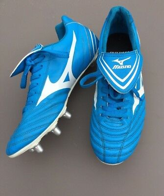 Mizuno Fortuna 4 SI Mens Rubgy Boots Size UK 11 Eu 46 Adult Blue White Trainers
