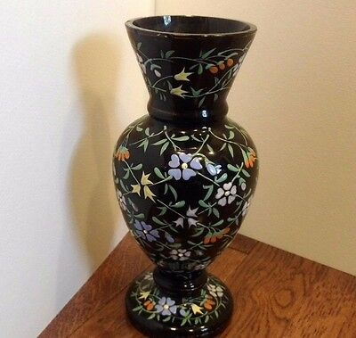 Antique Black Glass Vase Hand Painted Flower Multi Color Design Victorian?
