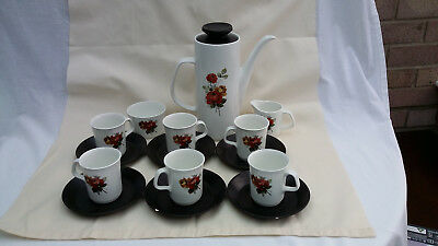 J&G Meakin Studio Coffee set c1967. Red & orange flowers on white background