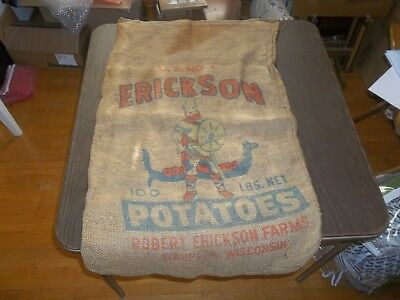 Vintage Burlap Erickson Potato Sack Waupaca WI. Advertising Food Collectible!
