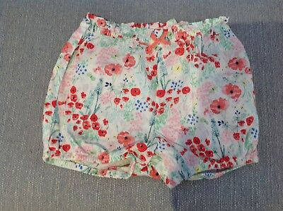 Baby Girls Todldler Summer Shorts H And & M. 18-24 Months. Poppy Flowers. New