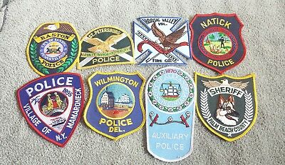Lot of 8 Police Sheriff Fire EMS Patches Various Agencies 8/18 - 009