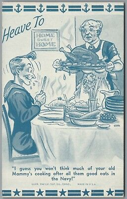 """1942 Wwii Military Comic """"heave To"""" Moms Cooking, Ex Sup Co Exhibit Postcard"""