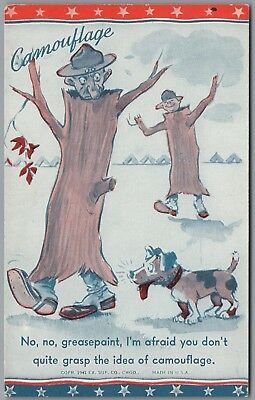 """1941 Wwii Military """"camouflage"""" Soldier In Tree, Dog, Ex Sup Co Exhibit Card"""
